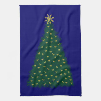 Green Christmas Tree, Gold Running Horses on Navy Kitchen Towel