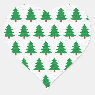 Green Christmas tree pattern Heart Sticker