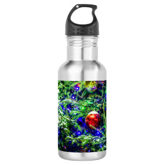 Green Christmas Tree Red Ball 532 Ml Water Bottle