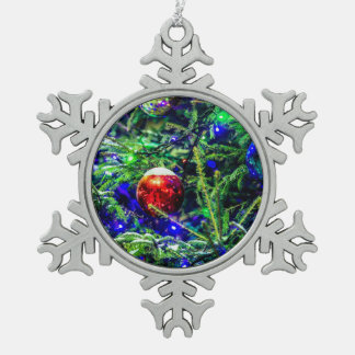Green Christmas Tree Red Ball Pewter Snowflake Ornament