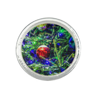 Green Christmas Tree Red Ball Photo Ring