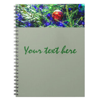 Green Christmas Tree Red Ball Spiral Notebook