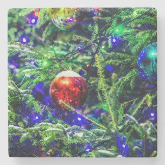 Green Christmas Tree Red Ball Stone Coaster