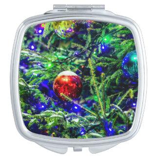 Green Christmas Tree Red Ball Vanity Mirror