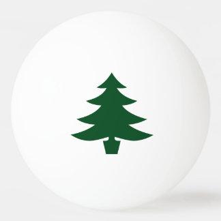 Green Christmas Tree Shape on White Ping Pong Ball