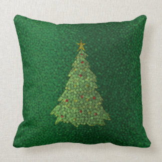 Green Christmas Tree Textured Holiday Pillow