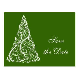 Green Christmas Tree Winter Wedding Save the Date Postcard