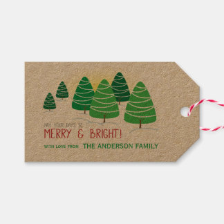 Green Christmas Trees, Merry & Bright, Personalize Gift Tags