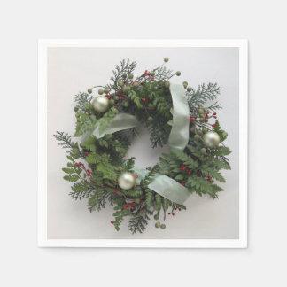 Green Christmas wreath Disposable Napkins
