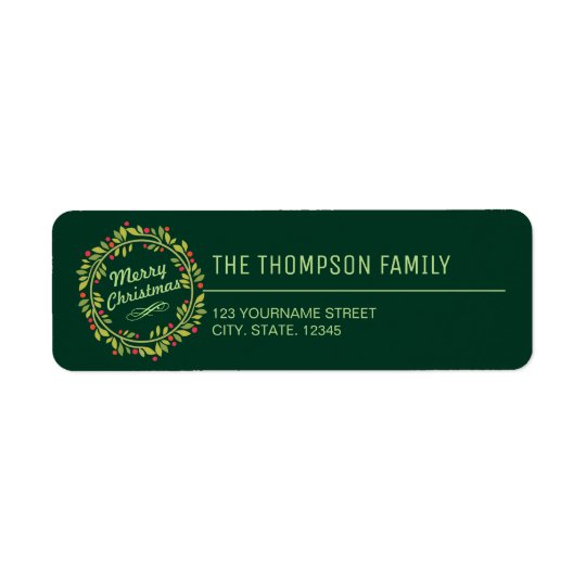 Green Christmas Wreath Return Address Label