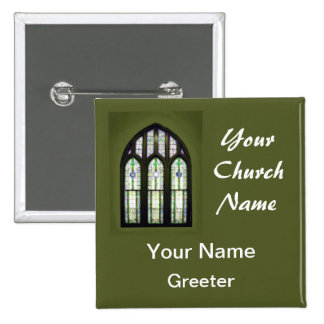 Green Church Greeter Nametags with Stained Glass 2 Inch Square Button