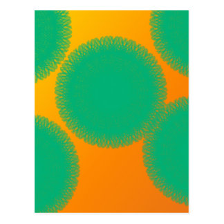 green circle in yellowish orange postcard