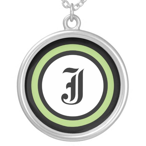 Green Circle Initial Necklaces
