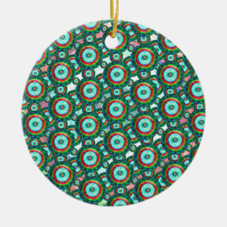 Green circles #3 ceramic ornament