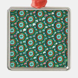 Green circles #3 metal ornament