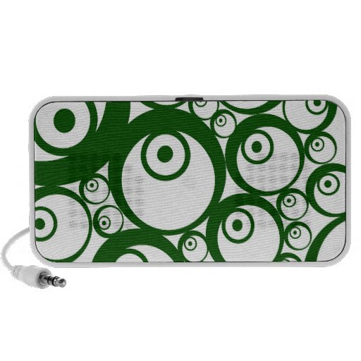 Green Circles Retro Doodle Notebook Speakers
