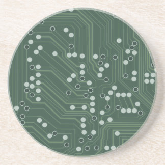 Green Circuit Board Background Pattern Art Coaster
