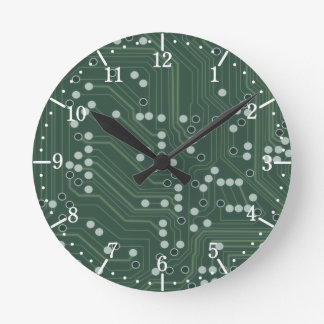 Green Circuit Board Background Pattern Art Round Clock