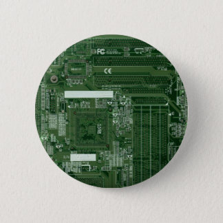 Green circuit board badge 2 inch round button
