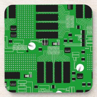 Green circuit board beverage coasters