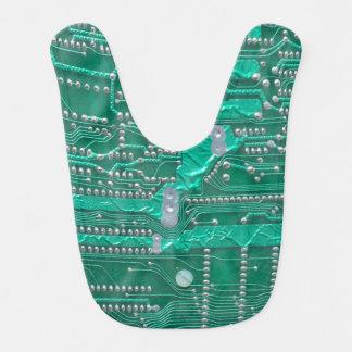 Green circuit board high-tech designed bib