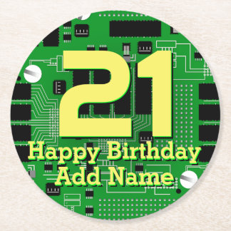 Green circuit board round paper coaster