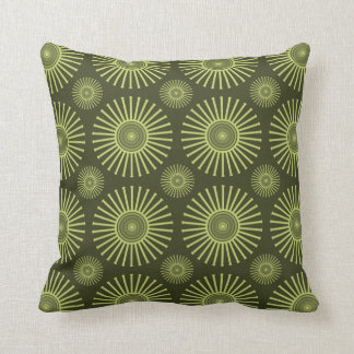 Green circular flowers throw pillow