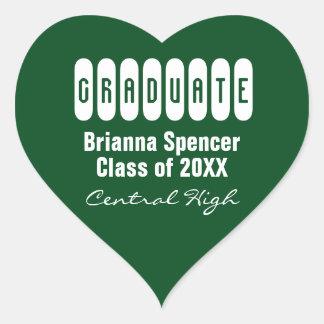 Green Class of 2017 Heart Graduation Envelope Seal Heart Sticker