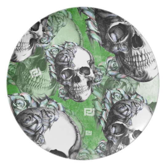 Green classic skull and roses products. PJ. Plate