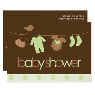 Green Clothesline Neutral Baby Shower Card