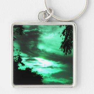 Green clouded sunrise keychain