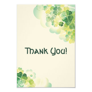 Green Clover and Butterfly Corners Thank You Card