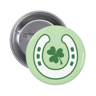 Green clover and horseshoe lucky St Patrick's day 2 Inch Round Button
