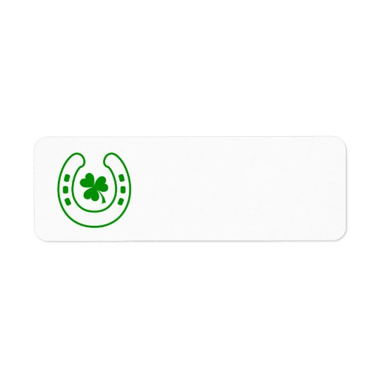 Green clover and horseshoe lucky St Patrick's day Return Address Label