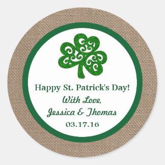 Green Clover & Burlap St. Patrick's Day Classic Round Sticker