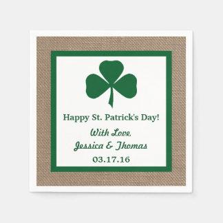 Green Clover & Burlap St. Patrick's Day Paper Napkin