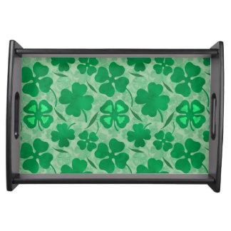 Green Clover Field, Four Leaf Clovers, Luck, Irish Serving Tray