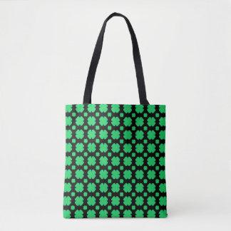 Green clover Patterned Black Tote Bag