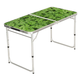 Green clover ping pong table. beer pong table