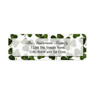 Green Clover Return Address Label