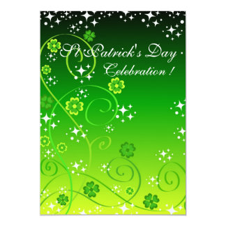 Green clovers and stars card