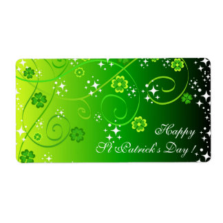 Green clovers and stars shipping label