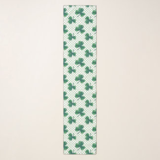 Green Clovers & Dots Pattern Scarf