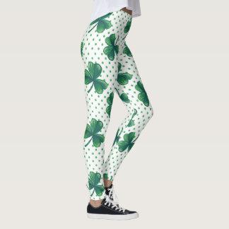 Green Clovers   Polka Dots Pattern Leggings