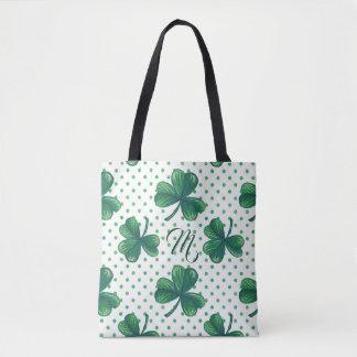 Green Clovers   Polka Dots Pattern Monogram Tote Bag