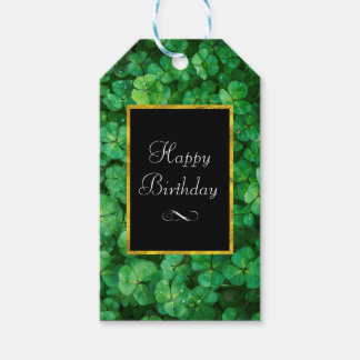 Green Clovers with FAUX Gold Foil Frame Birthday Gift Tags
