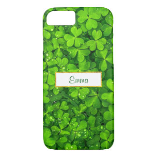 Green Clovers with FAUX Gold Foil Frame iPhone 8/7 Case
