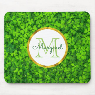 Green Clovers with FAUX Gold Foil Frame Monogram Mouse Pad