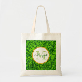 Green Clovers with FAUX Gold Foil Frame Monogram Tote Bag