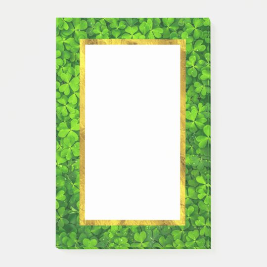 Green Clovers with FAUX Gold Foil Frame Post-it Notes